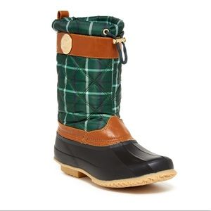 Tommy Hilfiger Acadia Green Plaid Snow Boots 8